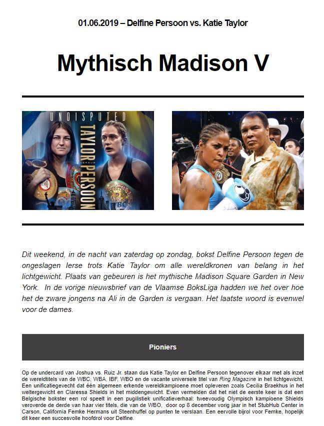 VBL nieuwsbrief seizoen 2019- 10e publicatie- Mythisch Madison V