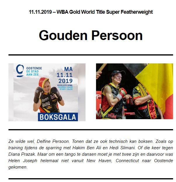 """VBL Nieuwsbrief - Gouden Persoon - 24ste publicatie seizoen 2019"""