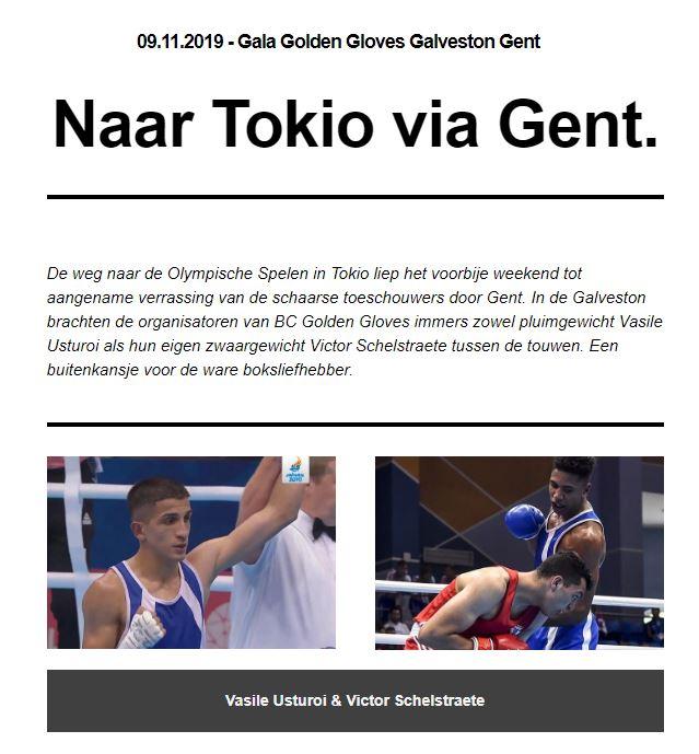 """VBL Nieuwsbrief - Naar Tokio via Gent - 23ste publicatie seizoen 2019"""